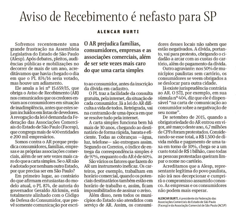 Aviso de Recebimento é nefasto para São Paulo